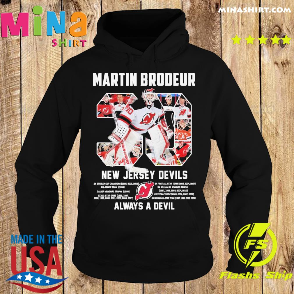 Official 30 Martin Brodeur New Jersey Devils Always a devil s Hoodie