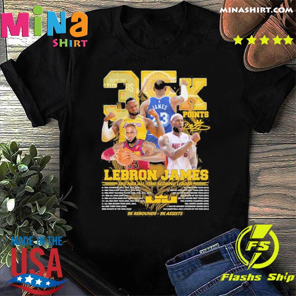 Official 35k Lebron James 3rd NBA time scoring leader 9k Rebounds 9k assists shirt