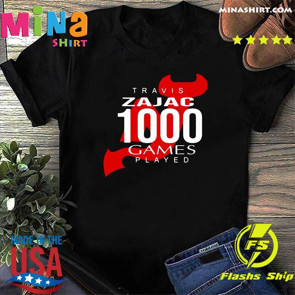 Official Travis Zajac 1000 Game Played Shirt
