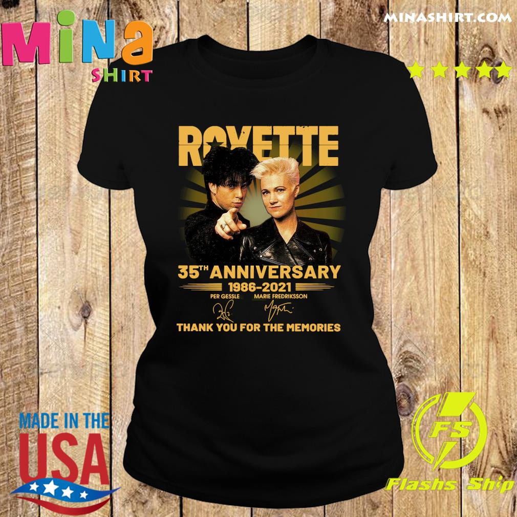Roxette 35th Anniversary 1986 2021 Thank You For The Memories Signatures Shirt Ladies tee