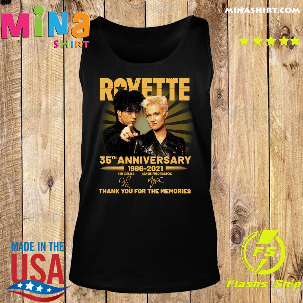 Roxette 35th Anniversary 1986 2021 Thank You For The Memories Signatures Shirt Tank top
