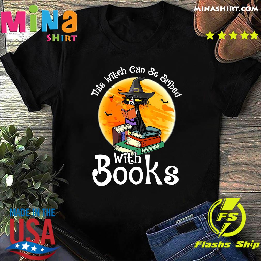 Black Cat This Witch Can Be Bribed With Books Moon Shirt