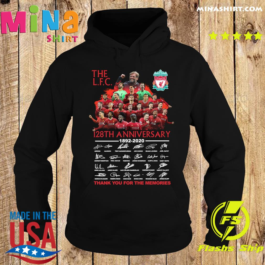 The Liverpool Football Club 128th Anniversary 1892 2020 Thank You For The Memories Signatures Shirt Hoodie