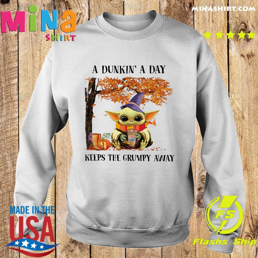 Baby Yoda Hug Dunkin' Donut Coffee A Dunkin' A Day Keeps The Grumpy Away Halloween Shirt Sweater