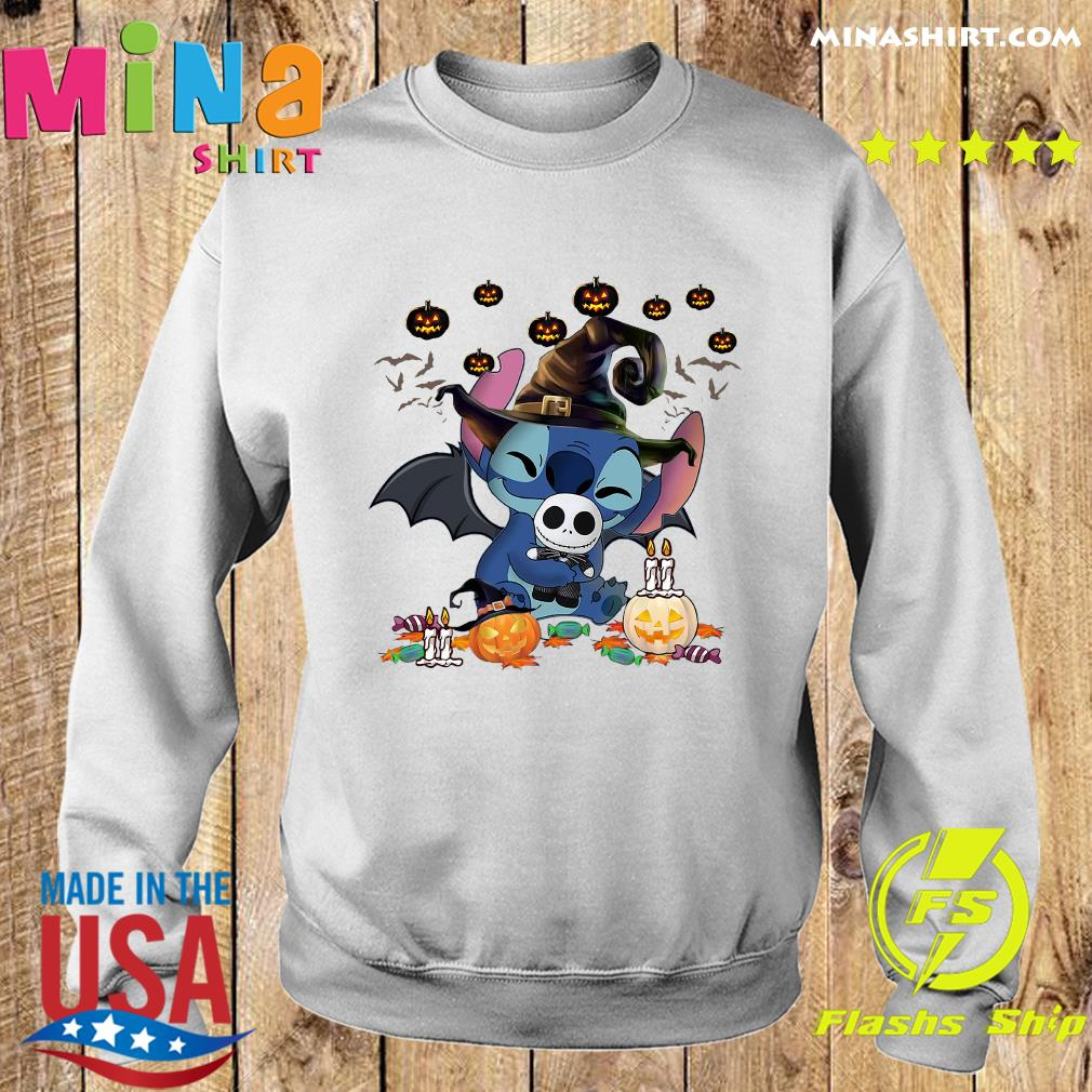 Stitch Witch Hug Jack Skellington Halloween Pumpkin Shirt Sweater