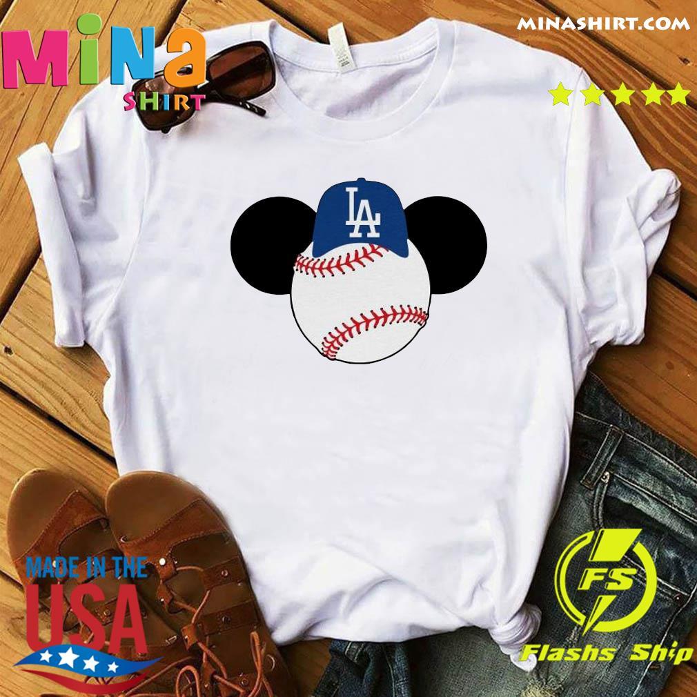Mickey Mouse Los Angeles LA Dodgers Logo Baseball LA Disney Shirt