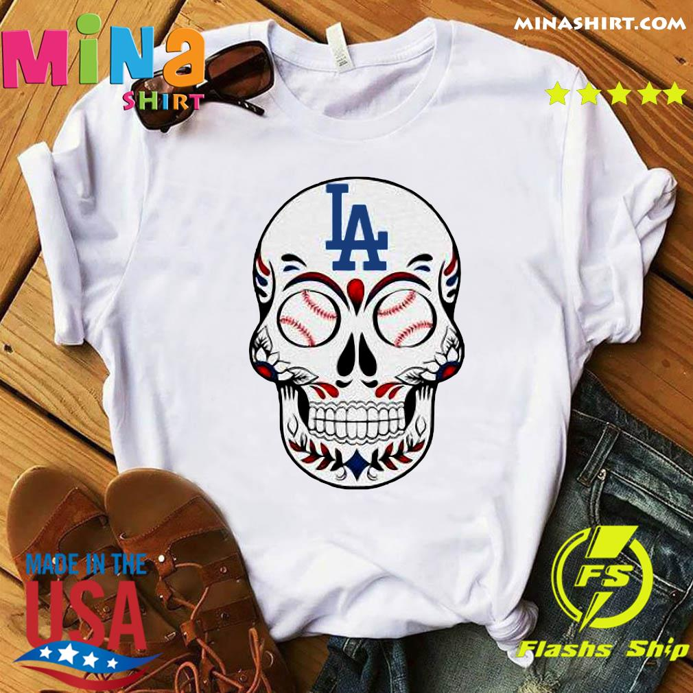 Skull Los Angeles LA Dodgers Logo Baseball Shirt