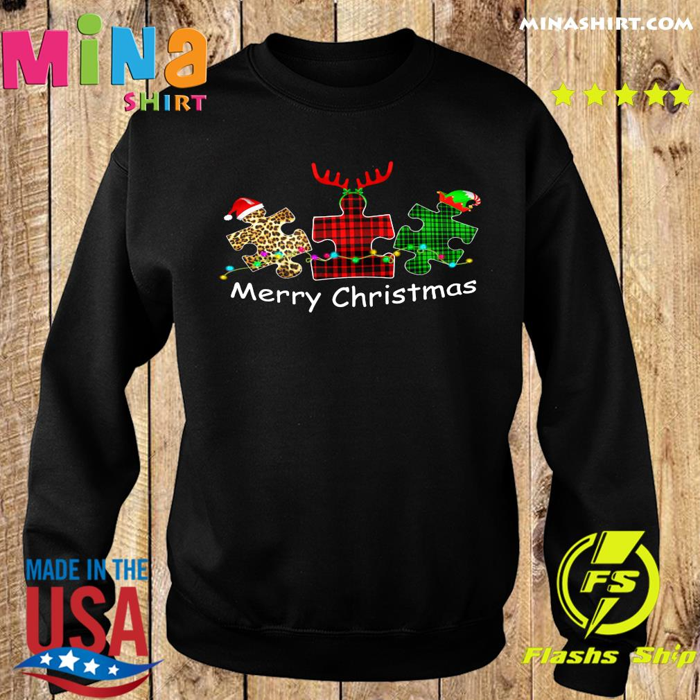 Autism Santa Reindeer Elf Merry Christmas Sweatshirt