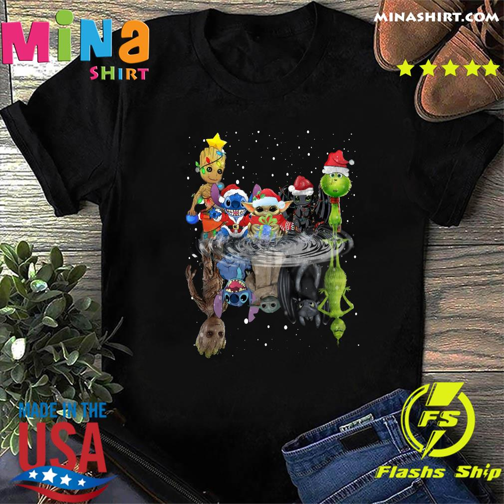 Baby Groot Baby Yoda Stitch Grinch Chibi Characters Water Mirror Reflection Christmas Sweatshirt