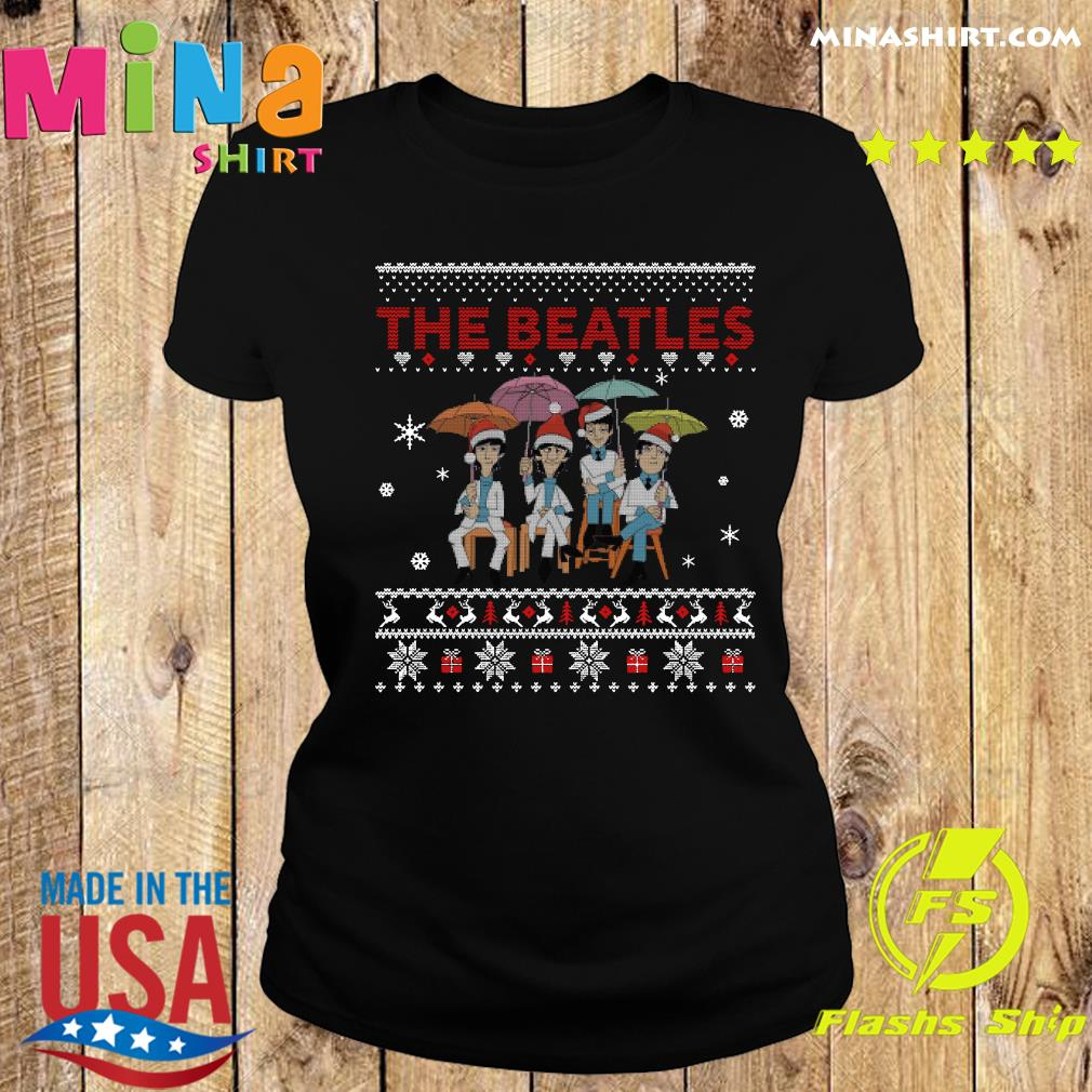 Official The Beatles Santa Ugly Merry Christmas Sweats Ladies tee
