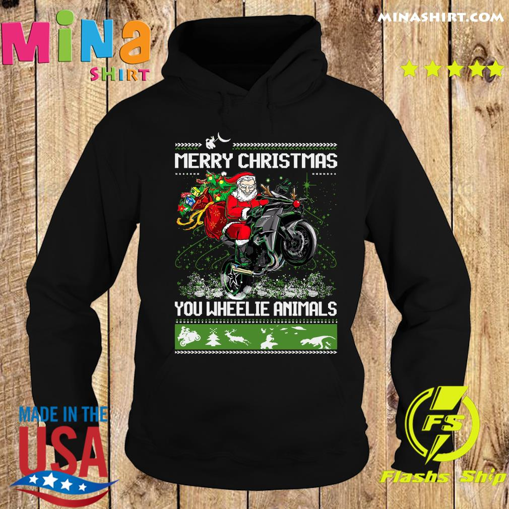 Santa Claus Riding Motorcycle Merry Christmas You Wheelie Animals Ugly Christmas Sweats Hoodie
