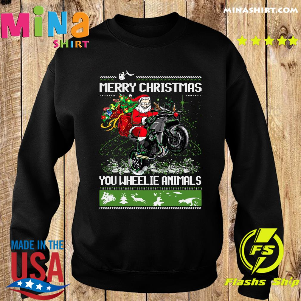 Santa Claus Riding Motorcycle Merry Christmas You Wheelie Animals Ugly Christmas Sweats Sweater