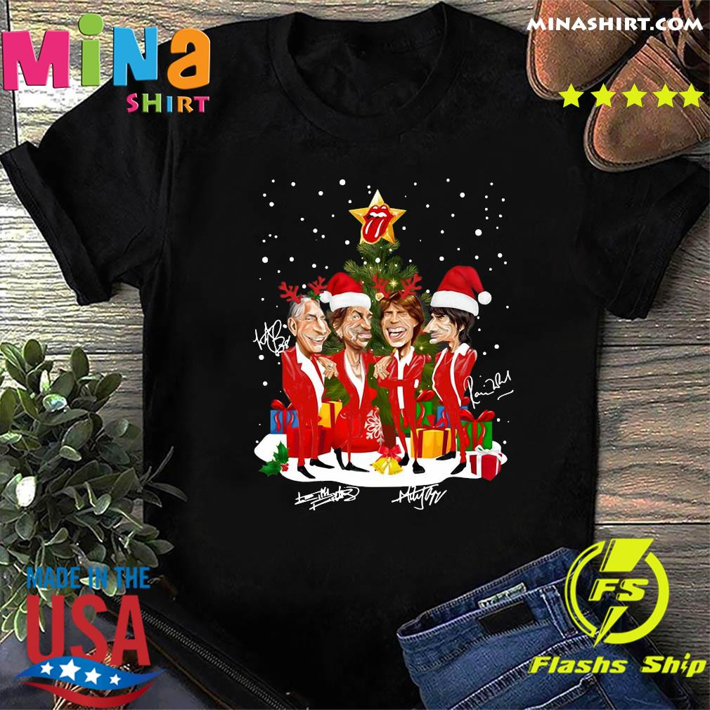 The Rolling Stones Band Music Wear Pajama Santa Christmas Tree Gift Signatures Sweatshirt
