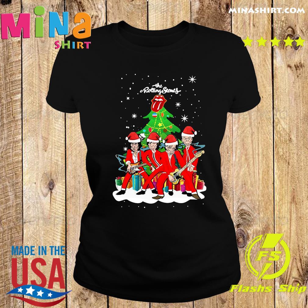 The Rolling Stones Band Music Wear Pajama Santa Christmas Tree Sweats Ladies tee